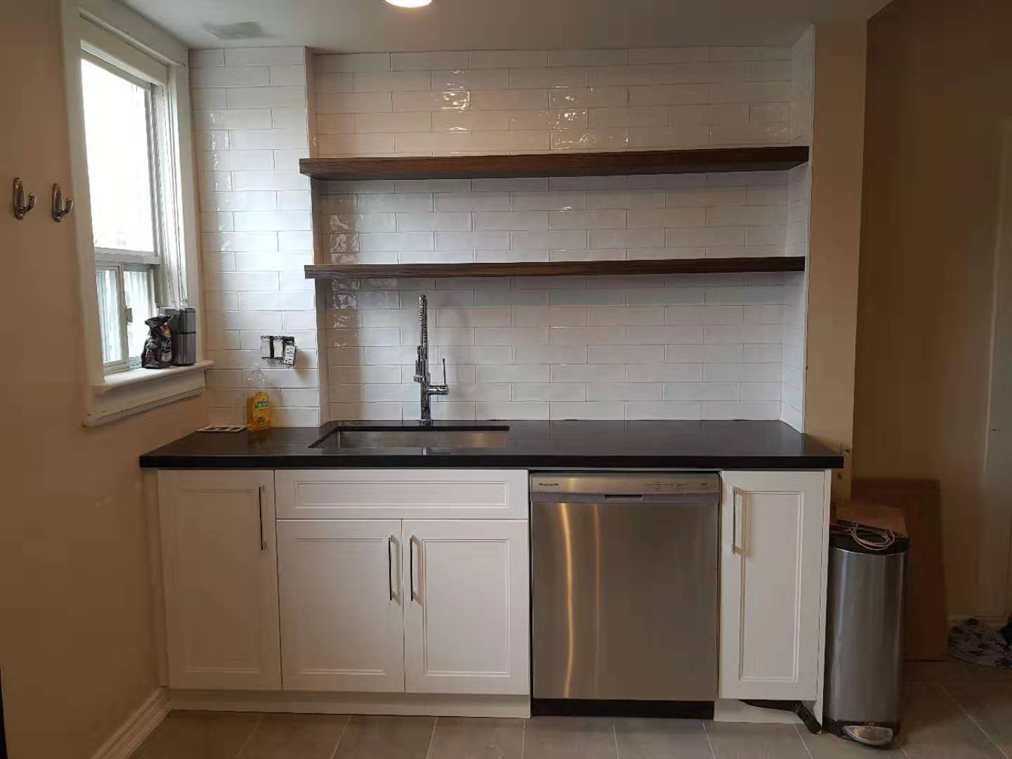 White MDF kitchen and wood pattern shelves