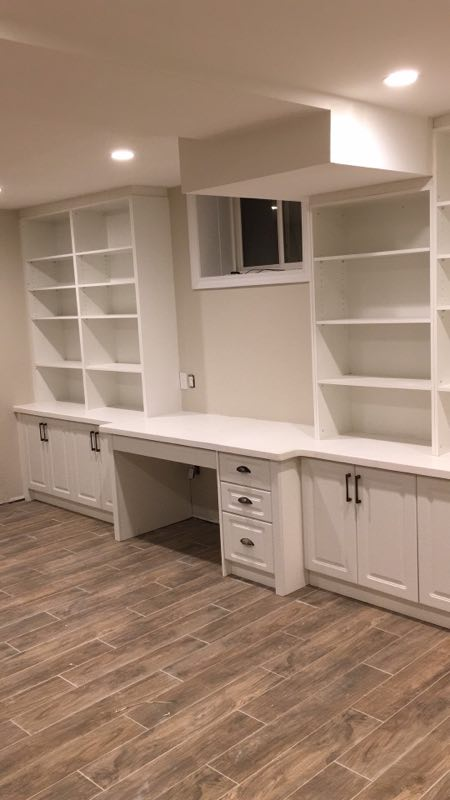 Basement white cabinetry