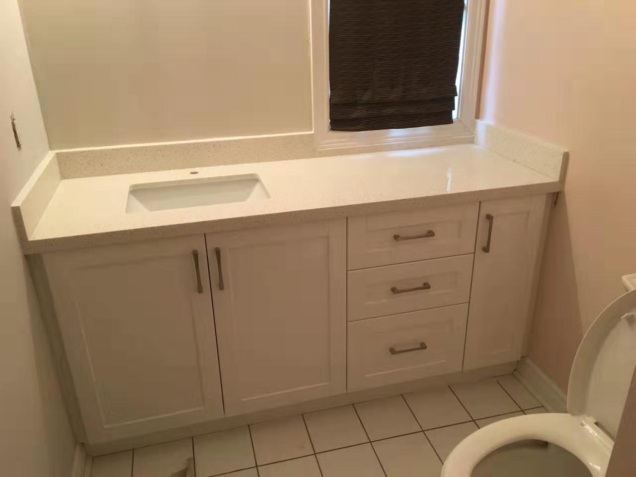 PVC vanity, quartz top with backsplash