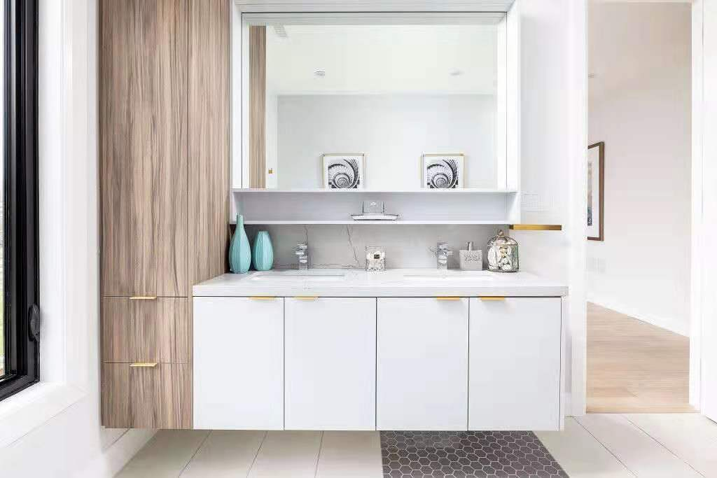 Modern vanity (wood texture and matte finish)